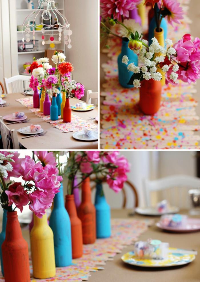 bunte Vasen mit rosa und weiße Blumen, Tischdeko für Geburtstag, Stocher von Eis als Läufer
