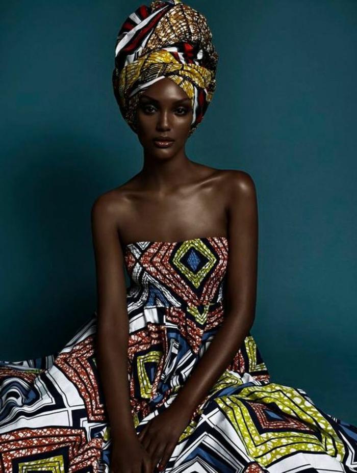 kaftan afrikanische kleidung ideen, bunte muster zum inspirieren, kopftuch, ladentuch kleidung