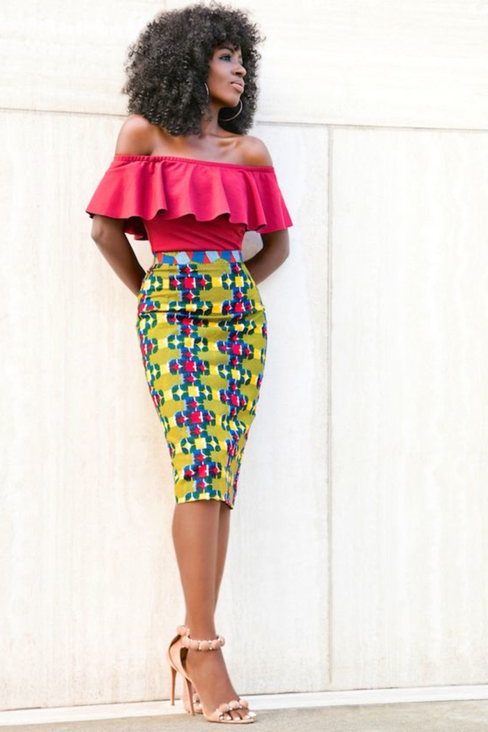 kaftan afrikanische mode, bleistiftrock und kurzer top in rot, breite und schöne modelle, enger rock, gelb mit rosa
