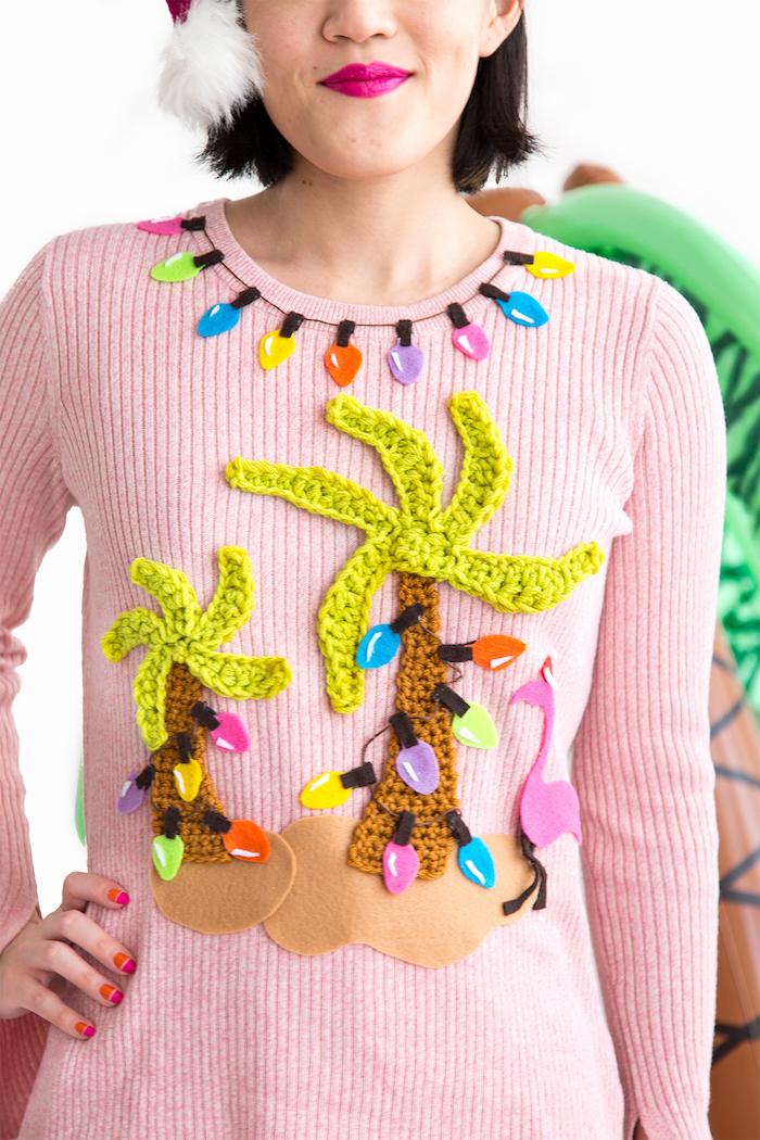 Lustiger Weihnachtspullover mit Palmen, Flamingo und Lichterkette, cooles DIY Geschenk zu Weihnachten