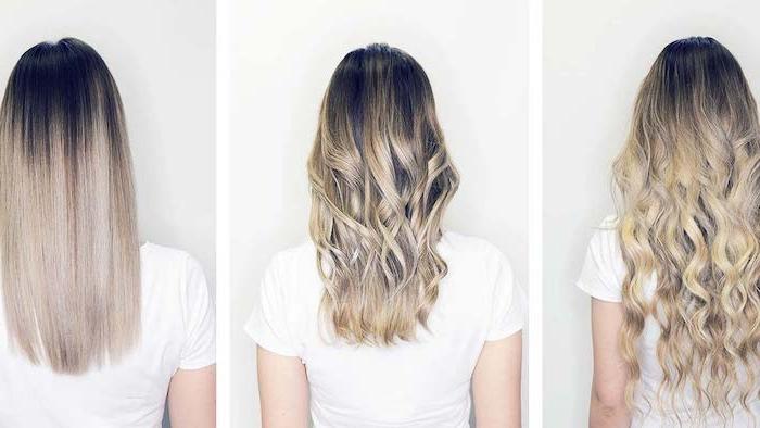 drei bilder mit ideen für trendige damen frisuren, drei frauen mit langen blonden strähnchen