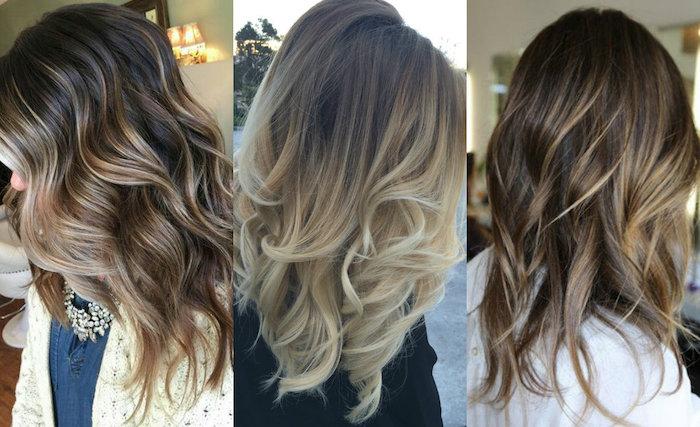 drei bilder mit drei jungen frauen mit langen blonden strähnchen, damen frisuren ideen, strähnchen selber machen