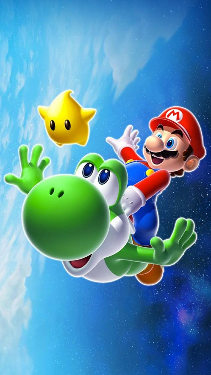 ein Bild von Super Mario mit seinem Haustier und ein kleiner Stern, in dem Kosmos, schöne Hintergrundbilder
