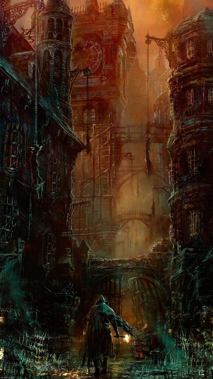 ein Bild aus Assasins Creed, eine Stadt in Flammen und ein Mensch mit Fackel, schöne Hintergrundsbilder