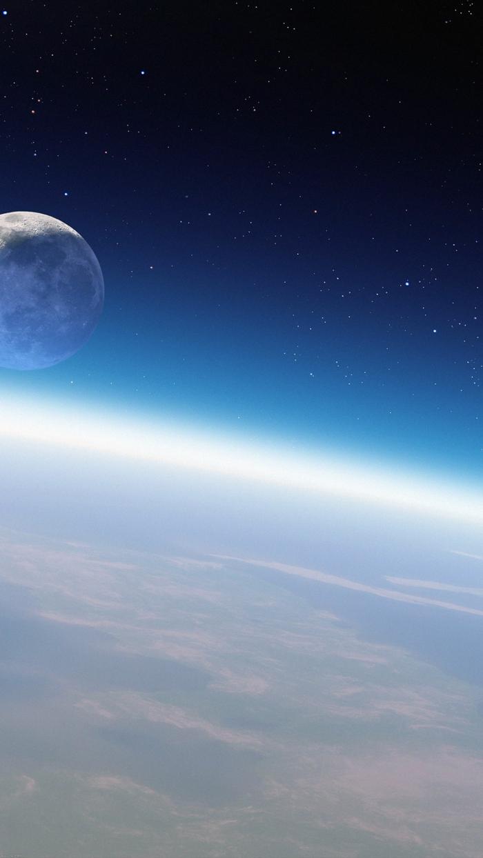 der Mond, die Erde vom Weltraum, viele Sterne in der Ferne, Schöne Handy Hintergrundbilder