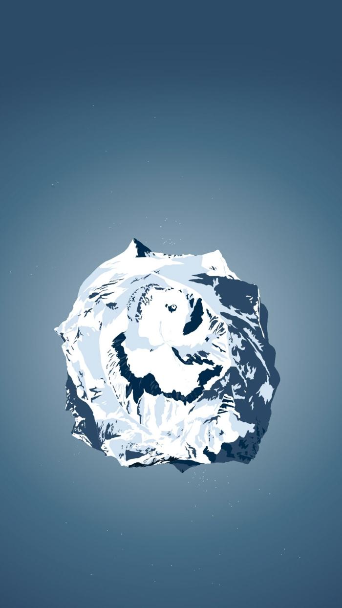 coole Hintergrundbilder, ein gefrorener Planet mit vielen Bergen auf blauem Hintergrund