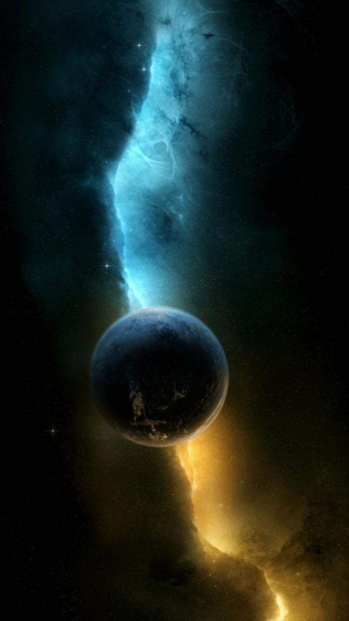 ein Planet in der Mitte, schwarzer Hintergrund, ein Blitz in zwei Farben, coole Hintergrundbilder