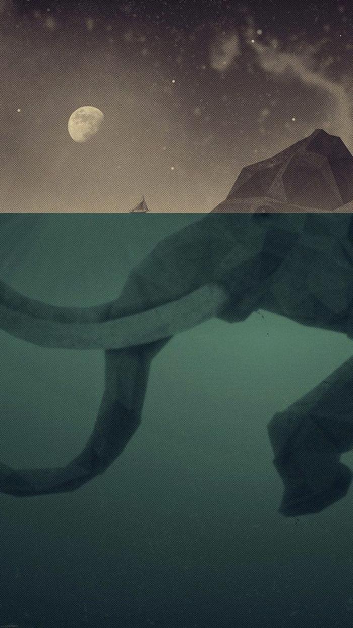 ein kunstvolles Bild von einem Elefanten wie ein Berg unter Wasser, ein Boot, nachtlicher Himmel mit Mond, coole Hintergrundbilder