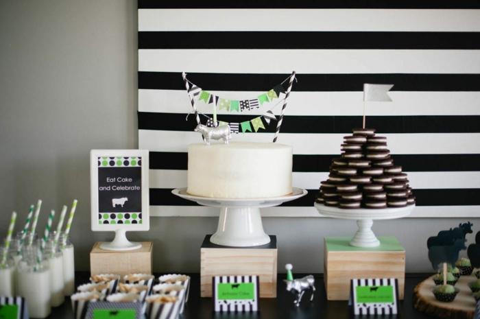 50 Geburtstag Mann, eine weiße Torte, Oreo Kekse, ein Kuh, Cupcakes, ein Motto Party zum Geburtstag