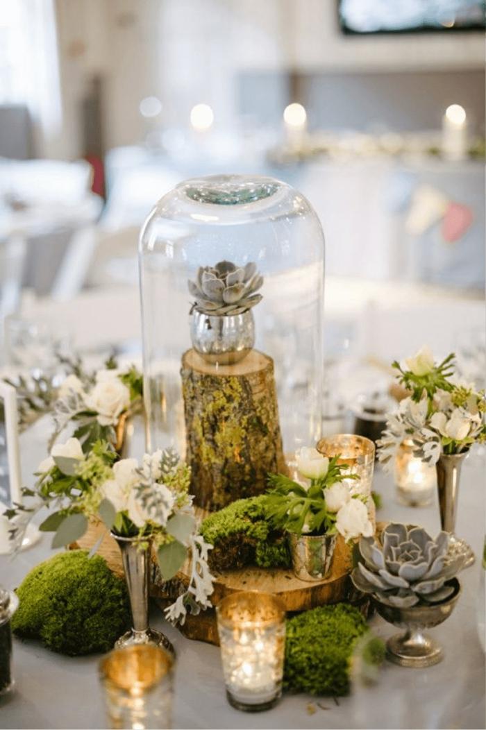 Blumen Tischdeck im Glas, Moos, Hauswurzen in silberfarbene Vase unter einem Glas, Treibholz