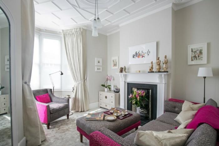 rosa und graue Wohnzimmermöbel, Wohnzimmer Farben, weiße Wandfarbe und viele kleine Bilder