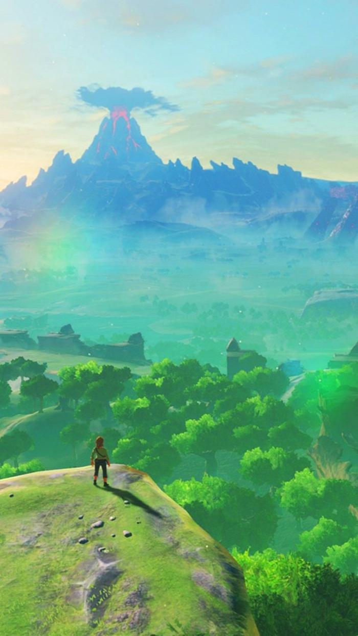 ein Bild aus Legende von Zelda, Link sieht in der Ferne aus einem Felsen, Wald, Vulkan, Bildschirmhintergrund
