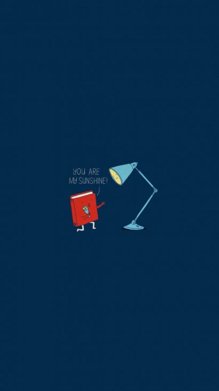 blauer Hintergrund, ein rotes Buch, eine blaue Lampe, you are my sunshine sagt das Buch, Bildschirmhintergrund