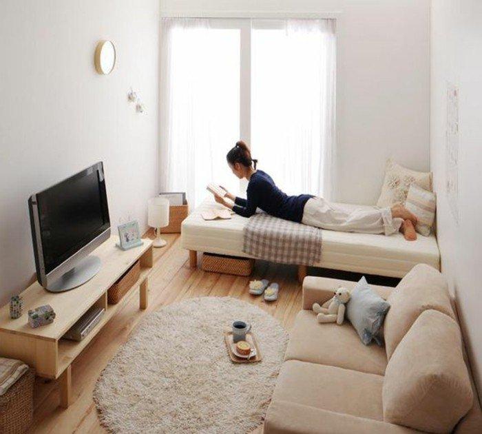 ein rosa Sofa, ein weißer Teppich, ein niedriger Tisch unter dem Fernseher, Diele am Boden, Wohnzimmer gestalten