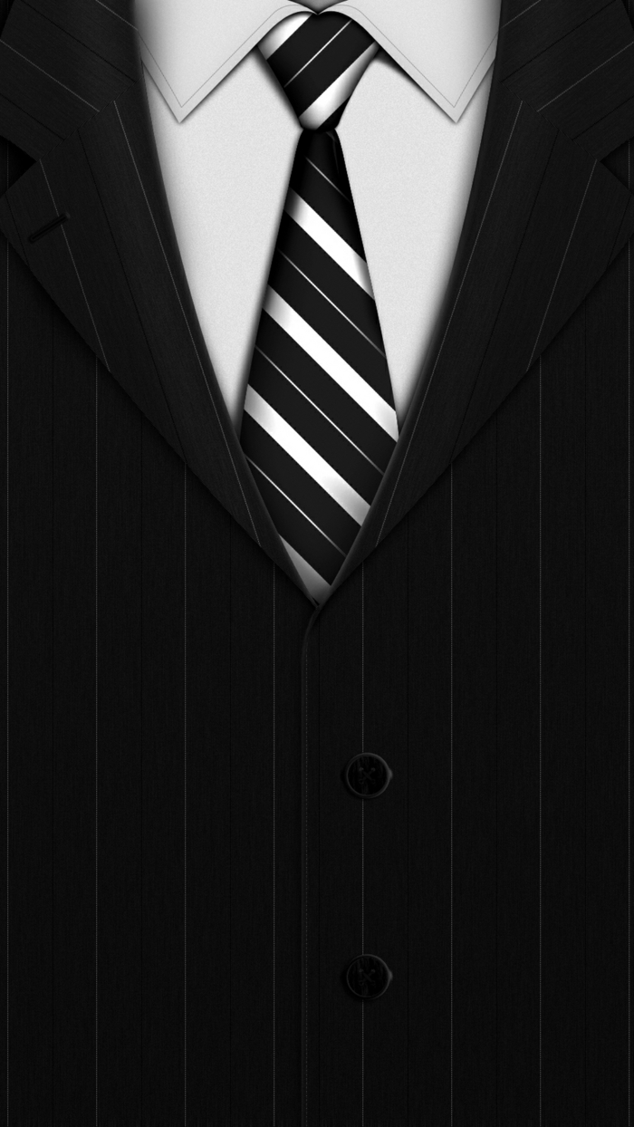 ein eleganter Anzug mit schwarz-weißer Krawatte, weißes Hemd, neutraler Bildschirmhintergrund