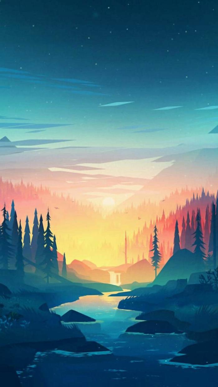 ein Sonnenuntergang, zwischen zwei Berge, ein Fluss, Wald mit Tannenbäumen, Bildschirmhintergrund
