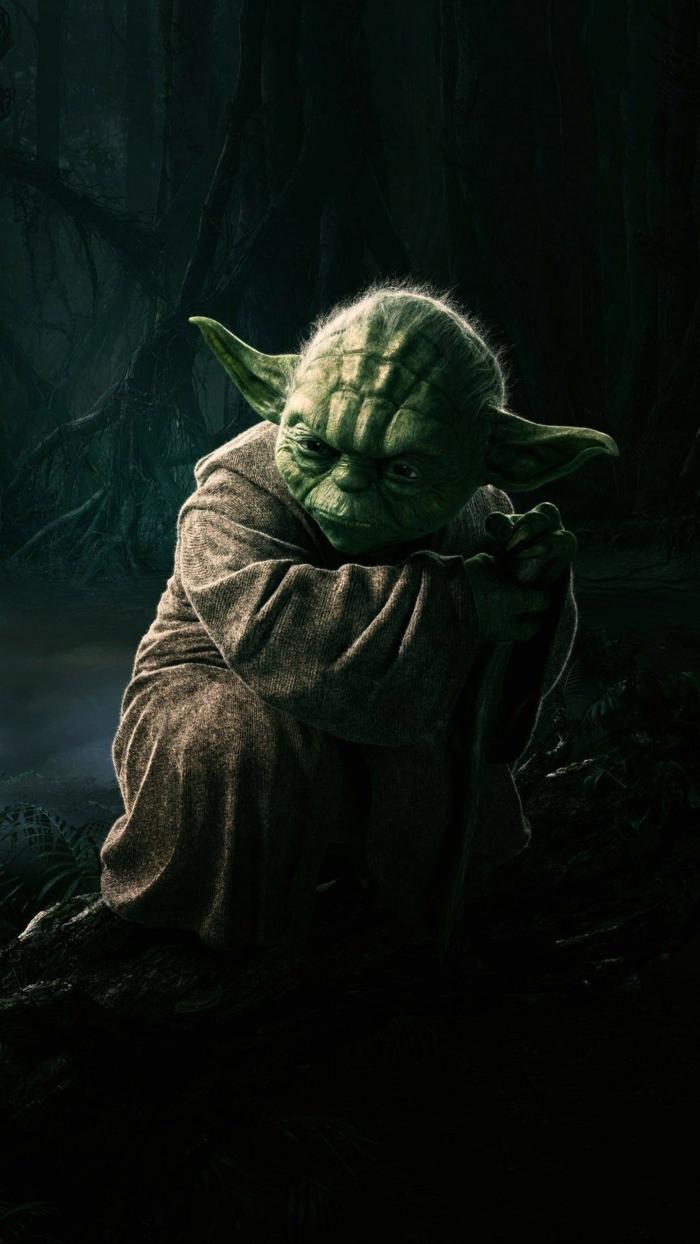 ein Außerirdischer, Jedi Master Joda, ein grünes Männchen, auf schwarzem Hintergrund, Hintergrundbilder kostenlos