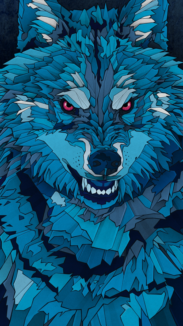 ein Wolf in blauer Farbe, rote Augen, ein gruselige Miene, Hintergrundbilder kostenlos, die Stärke symbolisieren