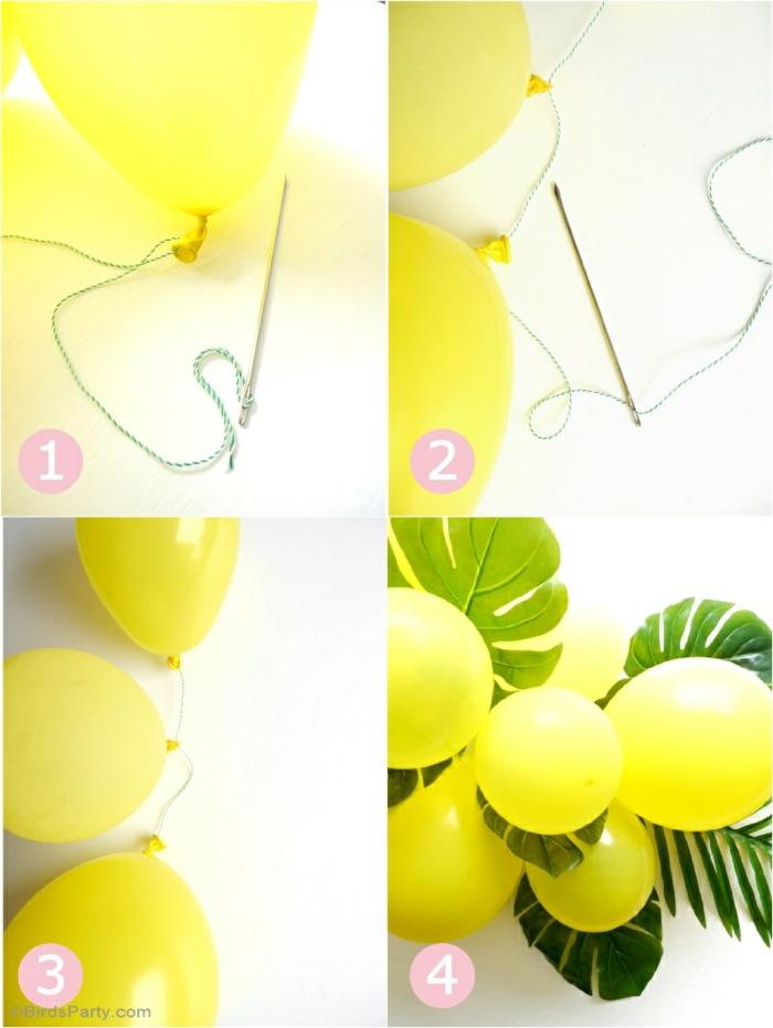 Tischdeko Geburtstag selber machen, gelbe Ballonen mit einem Schnur, grüne Blätter und einer Nagel