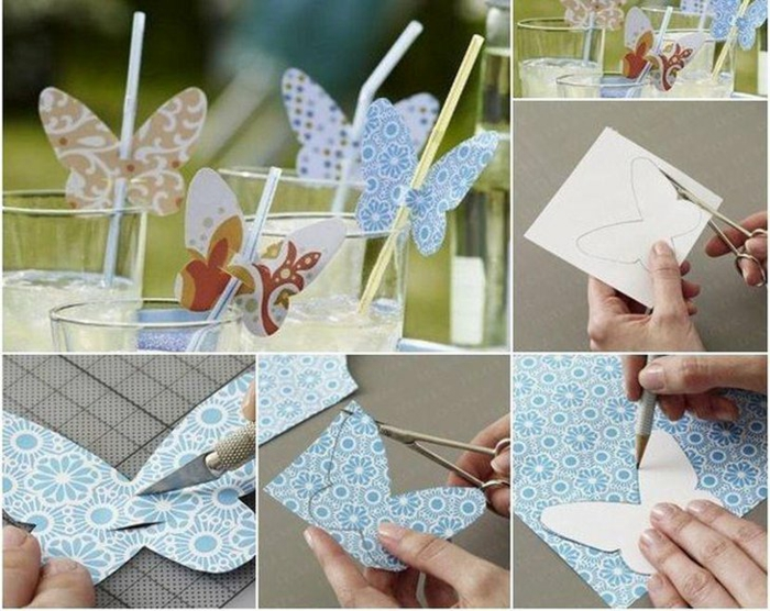 Schmetterlinge aus Papier, buntes Papier und Dekoration für Trinkhalme, Geburtstagsdeko, eine Anleitung