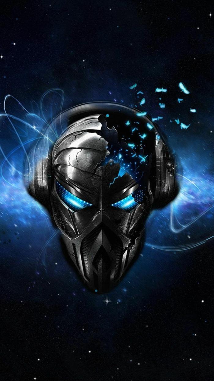eine schwarze Maske von Android, blaues Licht, viele Sterne, coole Hintergrundsbilder, Kopfhörer