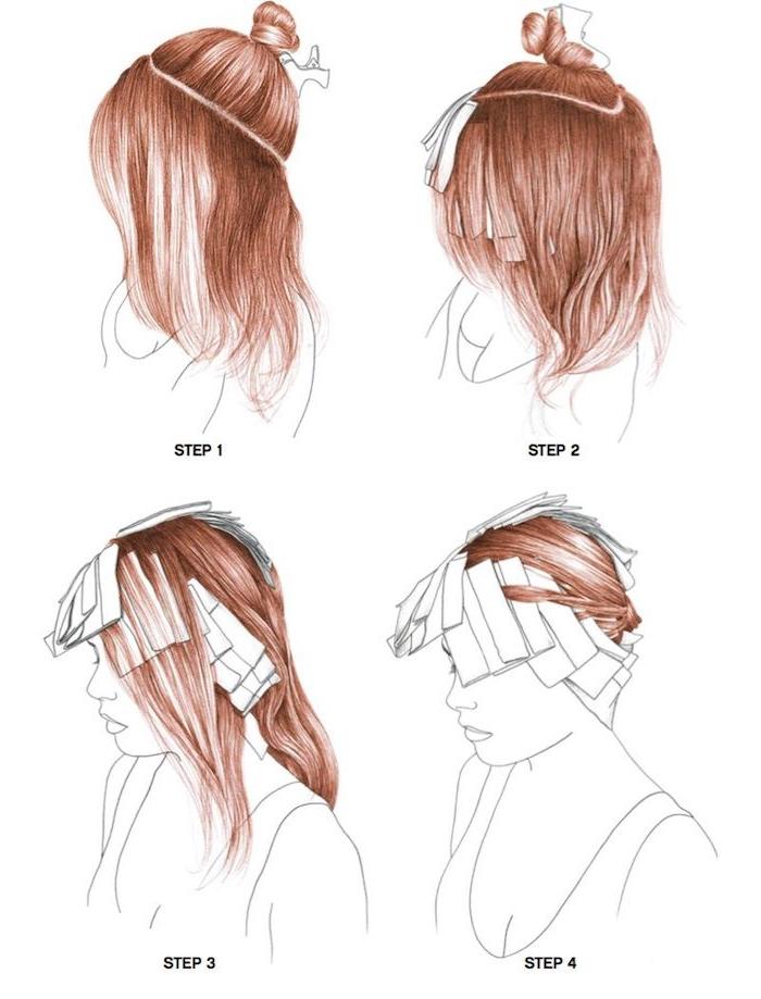 strähnchen selber machen, eine schritt für schritt diy anleitung, braune haare mit diy strähnchen