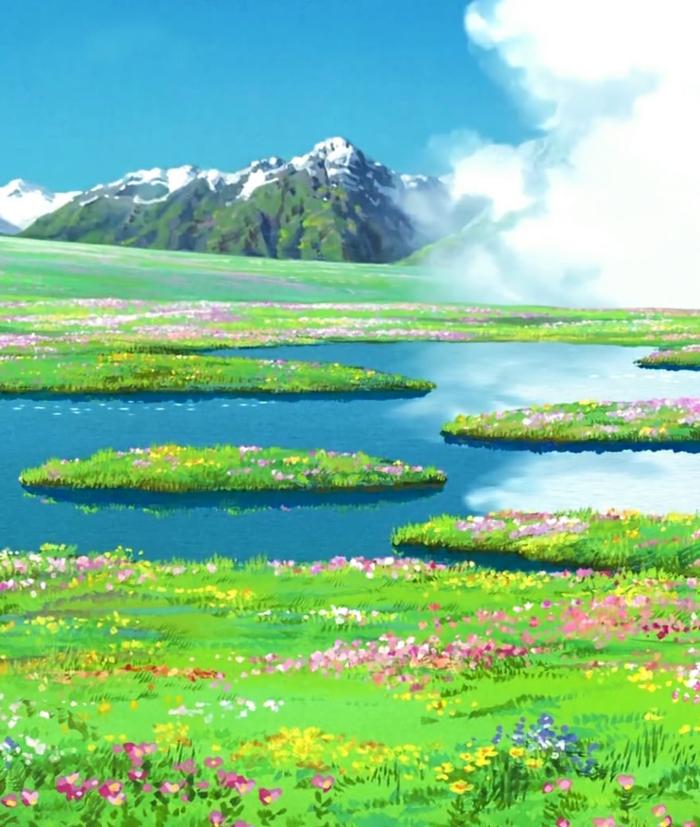 eine grüne Wiese mit einem See, Gebirge im Hintergrund, weiße Wolken, coole Hintergrundbilder