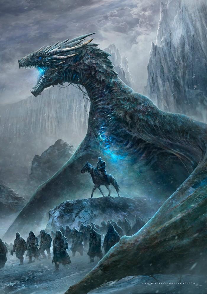 game of thrones illustration, ein geiter mit einem blauen pferd, großer blauer game of thrones drache