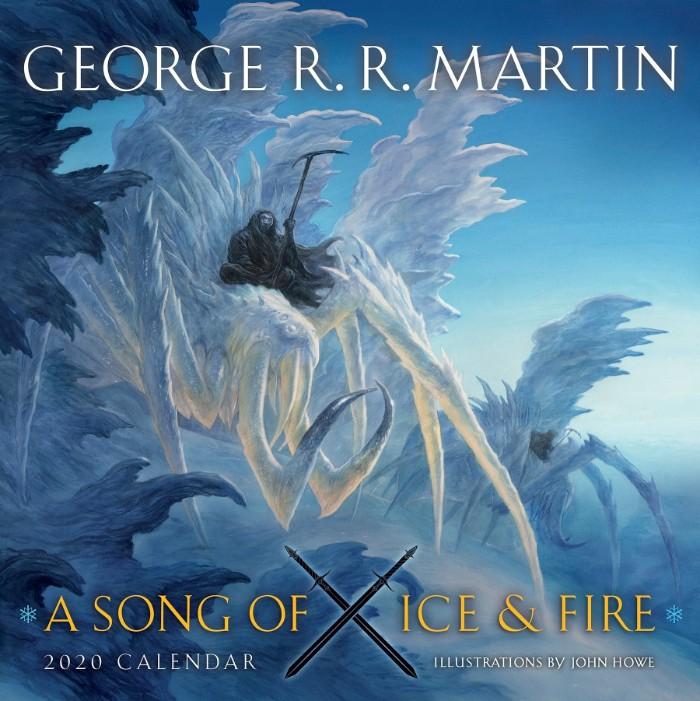 a song of ice and fire kalender 2020 mit eisspinnen, blauer himmel und zwei weße große eisspinnen und schwarze,