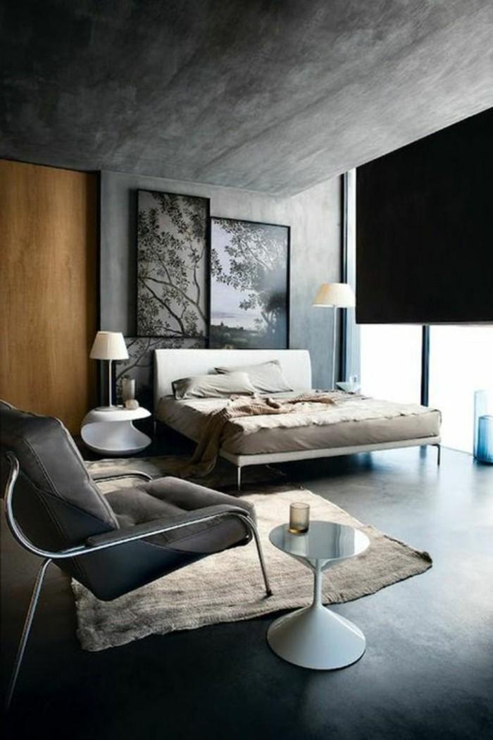 schlafzimmer design ideen simples design von doppelbett, ein großer sessel, kleiner kaffeetisch, stehlampe, wandkunst bilder, riesengroßer fernseher