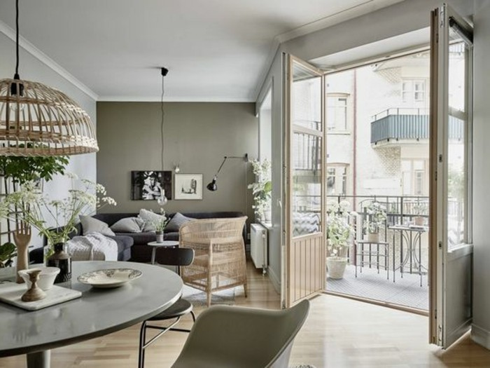 farbgestaltung wohnzimmer ideen, grau beige, dekor ideen, beiges design von lampen, kleine terrasse einrichten