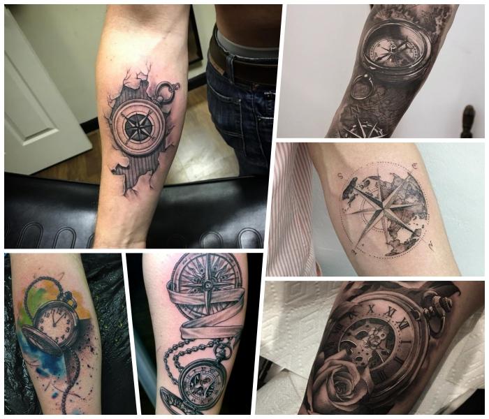 farbiges taschenuhr tattoo am bein, zerrinssene haur, realitische tätowierungen