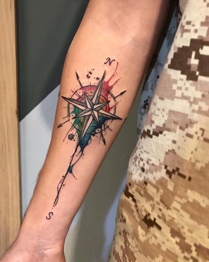 farbiges tattoo kompass am unterarm, tätowierung mit wasserfarben, weltrichtungen