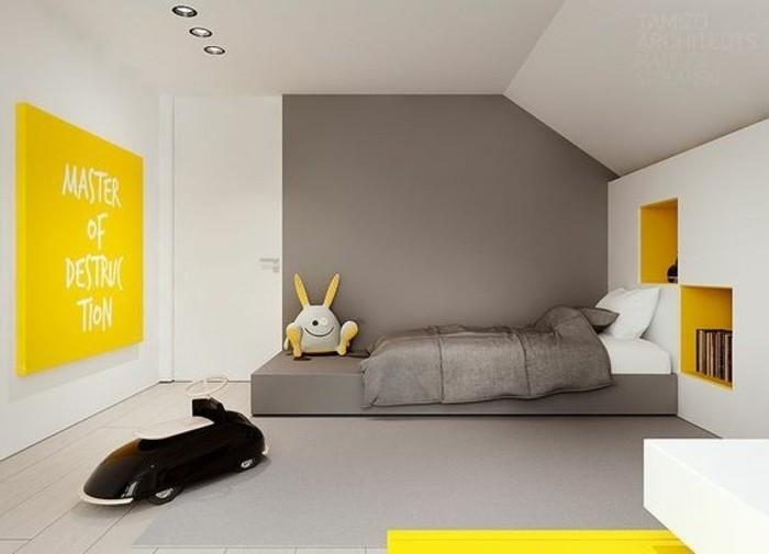 wandgestaltung wohnzimmer, grau wand färben, gelbe dekor ideen, hase plüschtier spielzeug