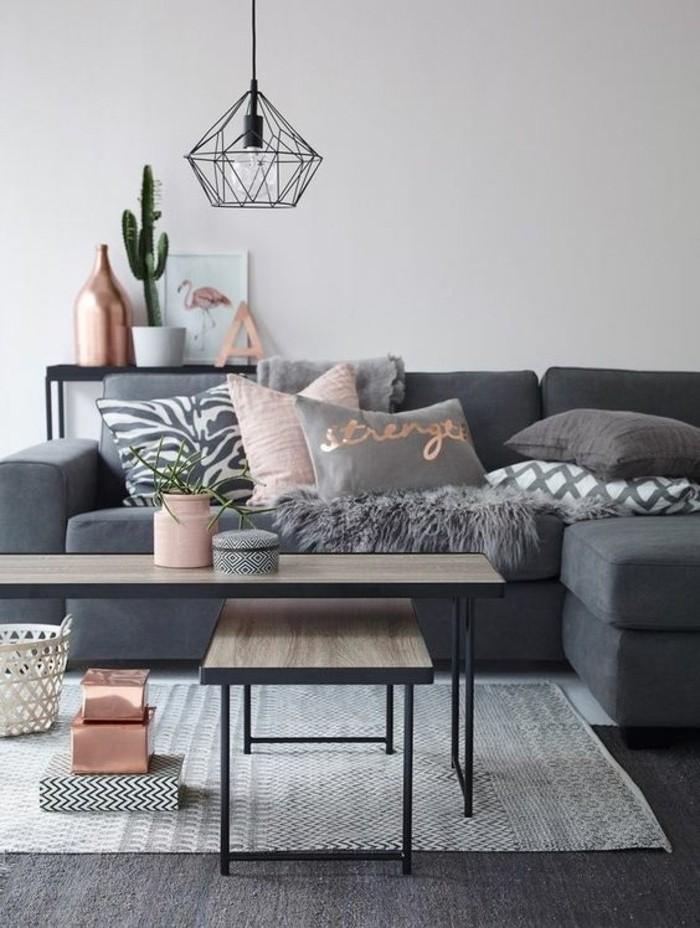wandgestaltung wohnzimmer, grau rosa, wohnraum licht kakrus blume, vase, teppich
