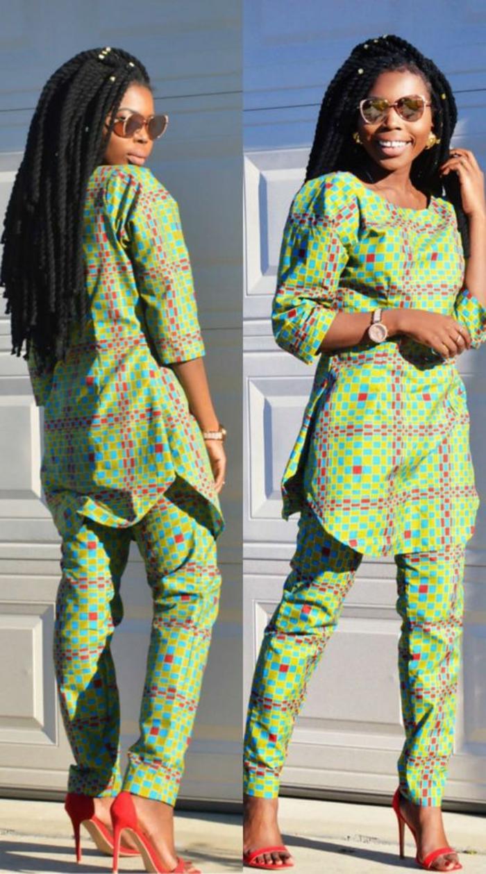 farbtechnik für stoffe, grünes outfit, stoff in grüner farbe färben, lange rasta haare