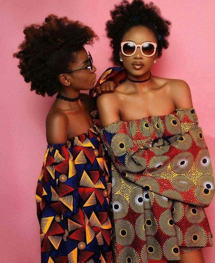 holländische stoffe online, schöne und moderne kleider schulterlos, bunte stoffe, sonnenbrille, moderner look, rosa wand
