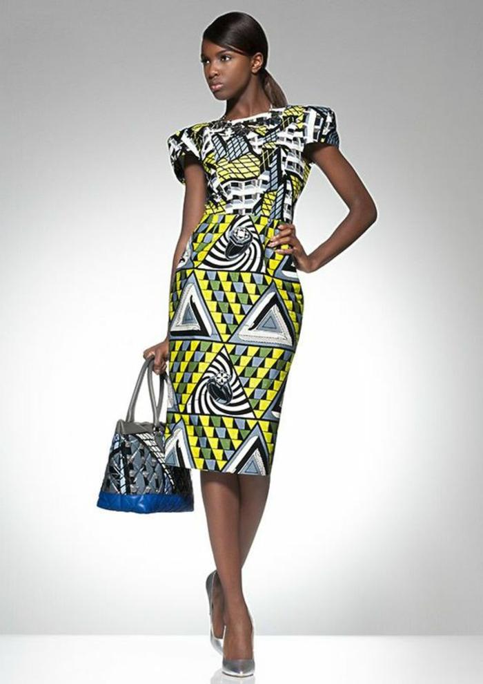 schöne sommerkleider in afromode stil ideen, geometrische prints und muster, gelb grünes kleid