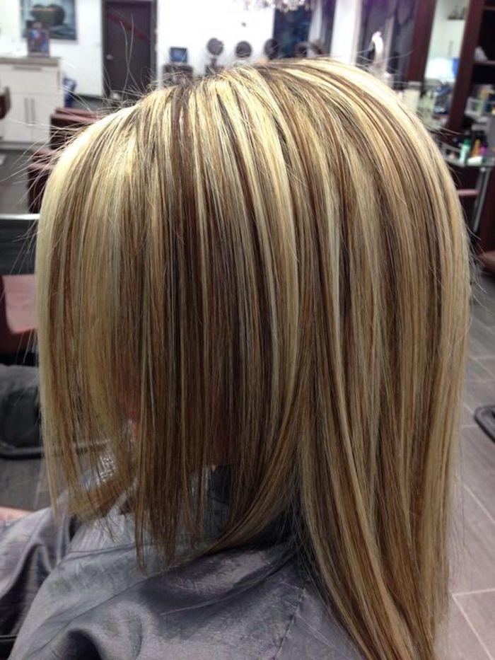 damen frisur mit langen strähnchen blond, strähnchen selber machen ideen