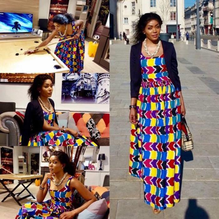 damenmode aus den afrikanischen ländern, tradition trifft das moderne, collage mit verschiedenen perspektiven eines kleides, geometrische figuren