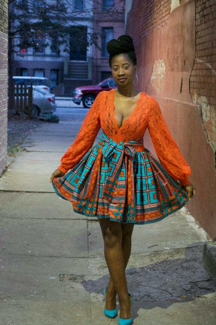 damenmode für molige frauen, orange bluse, blau und orange rock, kombinationen zum erstaunen, große decolette