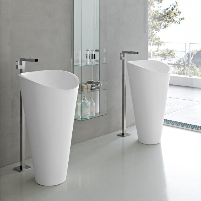 freistehende waschtische aus stahl email, badezimmer einrichten ideen, badezimmermöbel