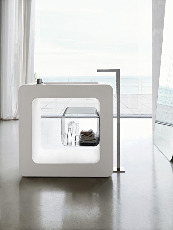 freistehende waschtische, badezimmer in weiß, designer möbel, armatur aus chrom