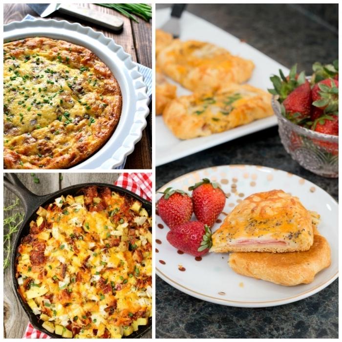 schüssel mit erdbeeren, frühstücksbuffet ideen, omelette mit bacon, collage