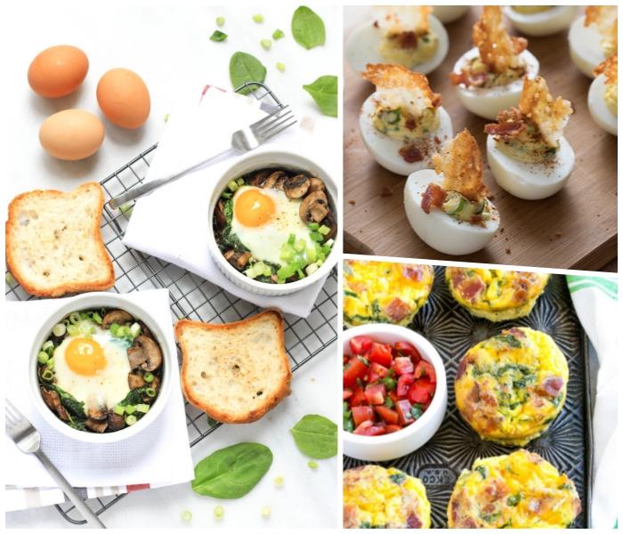 frühstück in schalen mit eiern, pilzen und frühlingszwiebeln, frühstücksbuffet selbst gemacht