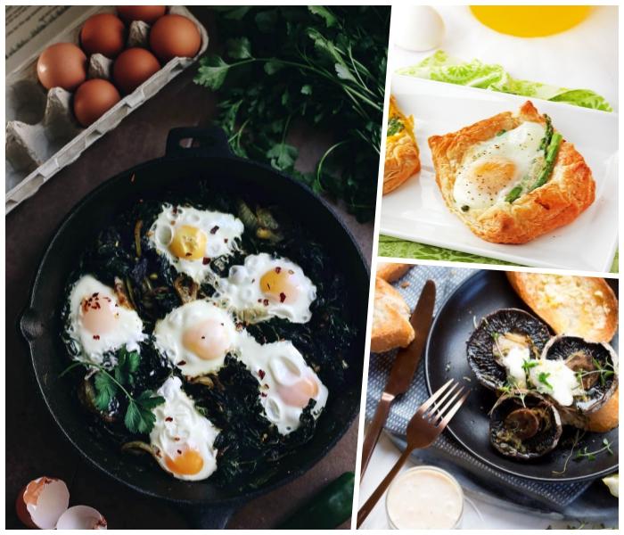 frühstücksbuffet selbst gemacht, schwarze rpfanne, eier mit spinat, blätterteig rezept