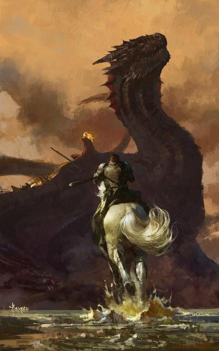 game of thrones art, kalender 2020, großer schwarzer drache und ein ritter mit einem weißen pferd