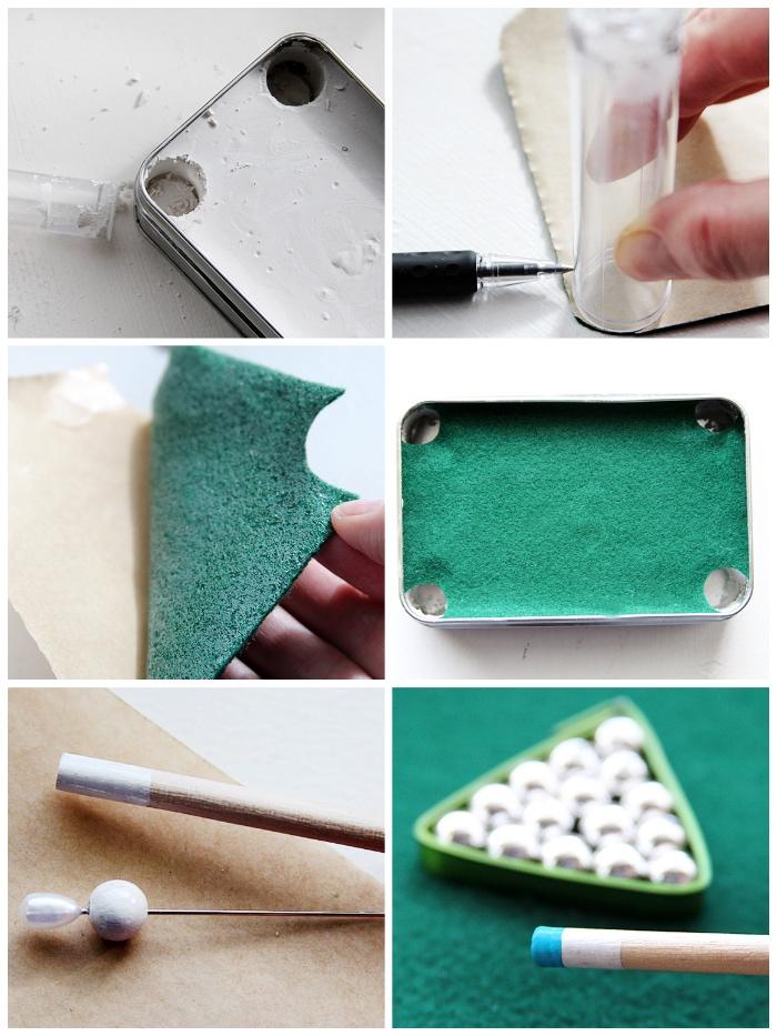 mini billardtisch selber machen, geschenk für besten freund, grüner stoff, silberne perlen