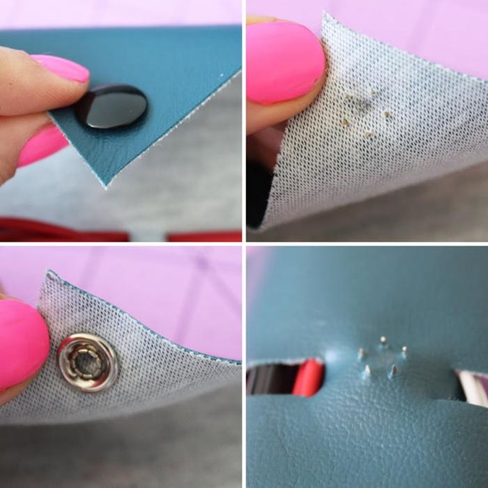 blaues leder, schwarzes druckknopf, persönliches geschenk für freund, rosa nagellack
