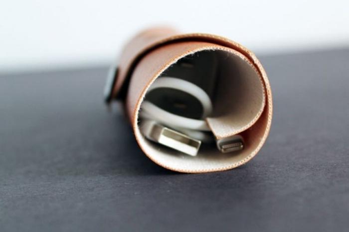 weiße kabel, tasche aus hellbraunem leder, geschenk für freund selber machen, diy